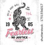 tiger girl fearless t shirt.... | Shutterstock .eps vector #1751556017