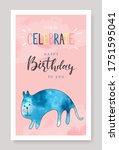happy birthday greeting card... | Shutterstock .eps vector #1751595041