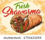 fresh shawarma poster vector... | Shutterstock .eps vector #1751621054