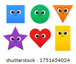 cute shapes set  square  circle ... | Shutterstock .eps vector #1751654024