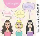 a girl lifestyle  with speech... | Shutterstock .eps vector #175167299