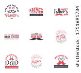 happy fathers day 9 black and...   Shutterstock .eps vector #1751691734