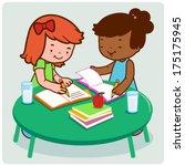 girl students doing homework.  | Shutterstock .eps vector #175175945