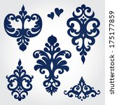 Vector set with baroque ornaments in Victorian style. Ornate element for design. It can be used for decorating of wedding invitations, greeting cards, decoration for bags and clothes.