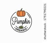 pumpkin vegetable logo. round... | Shutterstock .eps vector #1751790221