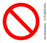 red prohibition sign on white... | Shutterstock .eps vector #1751805194