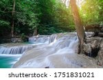 waterfall in deep forest  , thailand  nature background  - stock photo