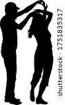 black silhouettes dancing man... | Shutterstock .eps vector #1751835317