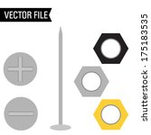 vector nuts screws and nail  | Shutterstock .eps vector #175183535