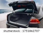 Modern Sedan Car Open Trunk....