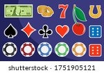 Slot machine design elements. Signs for slot machines. Casino chips, croupier, craps dice, and playing cards. Online casino. Slot machine mobile app icon. Playing Cards wins the jackpot. - stock photo