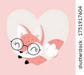 cute fox with glasses on a... | Shutterstock . vector #1751917604