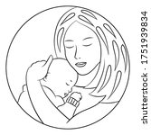 coloring page with a caring... | Shutterstock .eps vector #1751939834