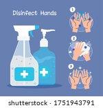 hands sanitizer bottles and... | Shutterstock .eps vector #1751943791