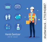 engineer with mask and hands... | Shutterstock .eps vector #1751943887