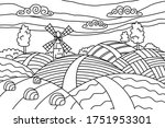 Coloring Page With Landscape...