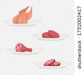 vector fresh pieces of raw meat ...   Shutterstock .eps vector #1752002417
