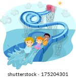 illustration of kids happily... | Shutterstock .eps vector #175204301