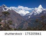 Small photo of View of Nepalese Himalayas in Solu khumbu District (Sagarmatha National Park): Khumbi Yul Lha 5,761 m., Everest 8,848 m., Lhotse 8,516 m., Ama Dablam 6,856 m.