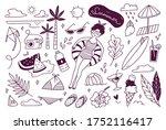 set of summer doodle on white... | Shutterstock .eps vector #1752116417