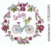 cute card with floral wreath... | Shutterstock .eps vector #175212395
