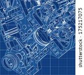 V8 Car Engine Cad Cartoon Whit...