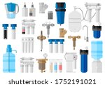 kit water filter on white...