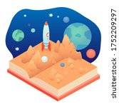 popup book page about cosmos... | Shutterstock .eps vector #1752209297