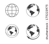 globe earth icons set on white... | Shutterstock . vector #175223975
