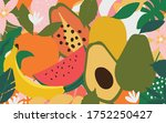mix of fruits colorful...   Shutterstock .eps vector #1752250427