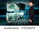 smiling businesswoman against... | Shutterstock . vector #175226075