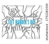 left handers day. august 13th.... | Shutterstock .eps vector #1752281534