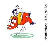 little boy character with bear... | Shutterstock .eps vector #1752288221