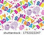 happy birthday   cute hand... | Shutterstock .eps vector #1752322247
