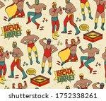 lucha libre seamless pattern.... | Shutterstock . vector #1752338261