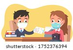 office clerk kid in mask  ... | Shutterstock .eps vector #1752376394