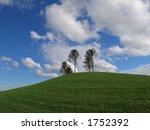Green hill and blue sky (Australia, Victoria, Melbourne) - stock photo