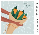 vector flat card with a bouquet ... | Shutterstock .eps vector #1752393914