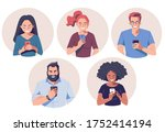 group of people with... | Shutterstock .eps vector #1752414194