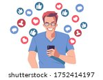 young cheerful man holding... | Shutterstock .eps vector #1752414197