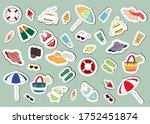 set of summer icons stickers.... | Shutterstock .eps vector #1752451874