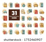 fast food delivery vector icons ...