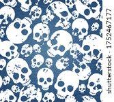 pattern with skulls on denim... | Shutterstock .eps vector #1752467177