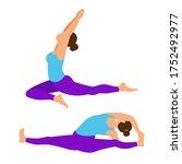 set yoga pose. yoga asana ... | Shutterstock .eps vector #1752492977