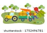 Young Girls Farmers Putting Bi...