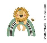 cute lion on rainbow. use this... | Shutterstock .eps vector #1752530801