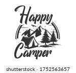 happy camper vintage vector sign   Shutterstock .eps vector #1752563657