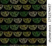citrus slice pattern. chalk... | Shutterstock .eps vector #1752574457