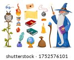 wizard with magic attributes on ... | Shutterstock .eps vector #1752576101