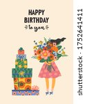 happy birthday. vector... | Shutterstock .eps vector #1752641411